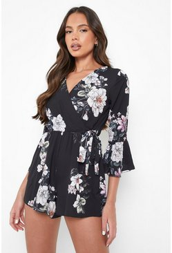 Womens Black Floral Wrap Tie Playsuit