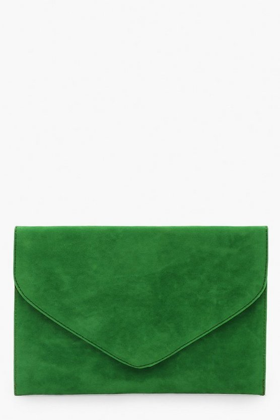 Womens Green Suedette Envelope Clutch Bag