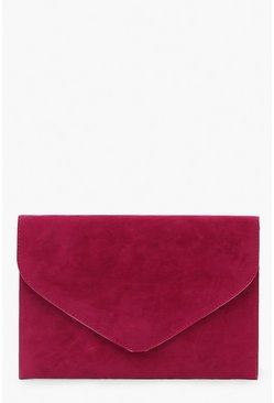 Womens Magenta Suedette Envelope Clutch