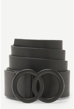 Black Matte Double Ring Buckle Boyfriend Belt