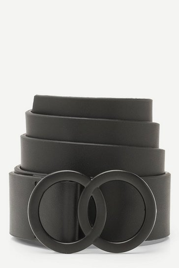 Womens Black Matte Double Ring Buckle Boyfriend Belt