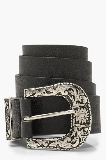 Womens Black Chunky Western Boyfriend Belt