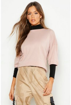 Womens Dusky pink Oversized Compact Cotton T Shirt