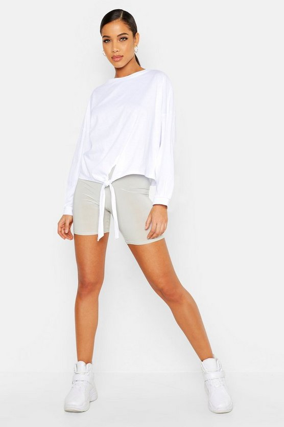 Womens White Oversized Knot Detail T Shirt