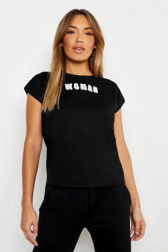 Womens Black Woman Cap Sleeve Slogan T Shirt