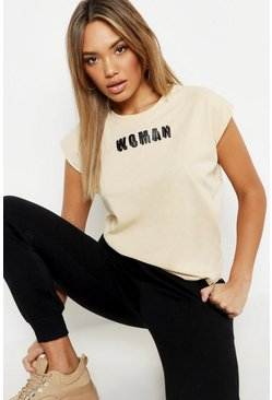 Womens Ecru Woman Cap Sleeve Slogan T Shirt