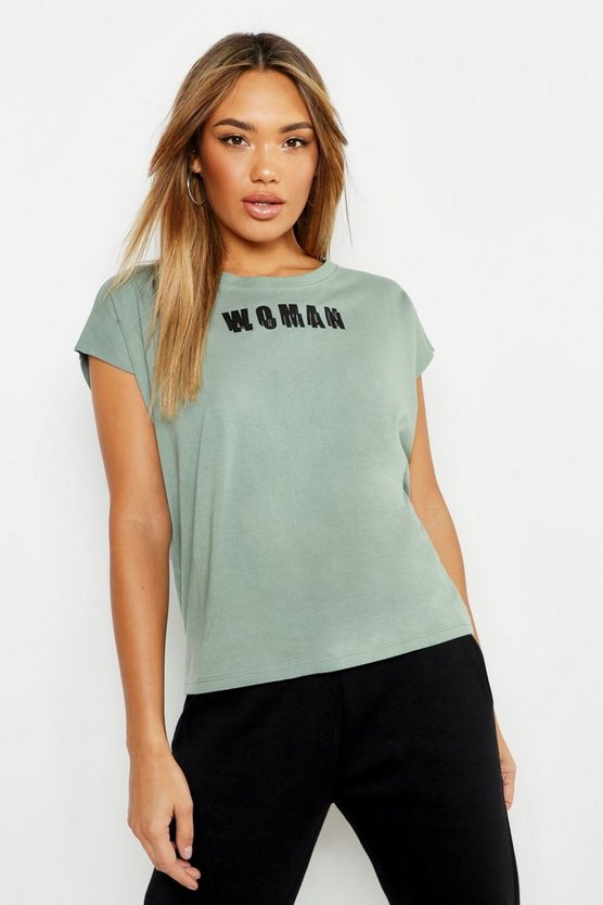 Womens Teal Woman Cap Sleeve Slogan T Shirt