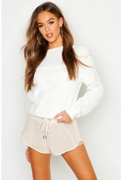 Womens Cream Teddy Contrast Panel Embroidered Sweat