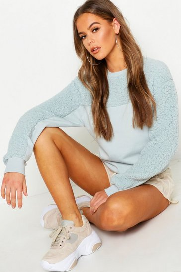 Womens Pale blue Teddy Contrast Panel Embroidered Sweat
