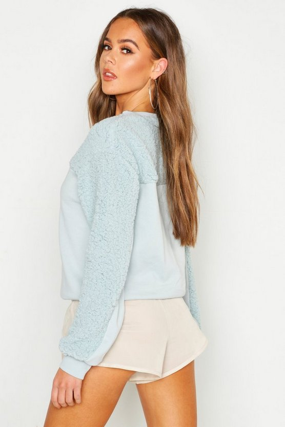 Teddy Contrast Panel Embroidered Sweat