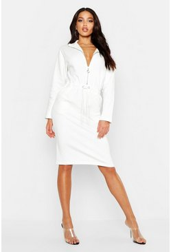 Womens Cream Zip Detail Draw Cord Sweat Dress