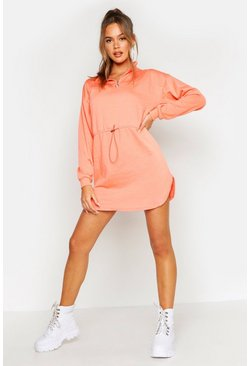 Womens Coral Zip Detail Draw Cord Sweat Dress