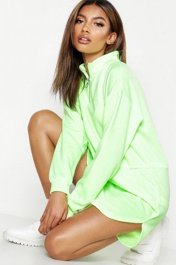 Womens Neon-lime Zip Detail Draw Cord Sweat Dress