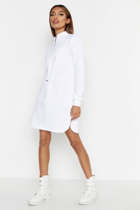 Womens White Zip Detail Draw Cord Sweat Dress