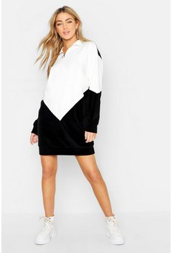 Womens Black Velour Chevron Colour Block Sweat Dress