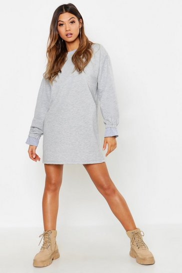 Womens Grey Frill Sleeve Detail Sweat Dress