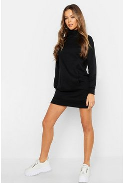 Womens Black Pocket Detail High Neck Sweat Dress