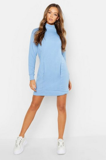 Womens Sky Pocket Detail High Neck Sweat Dress