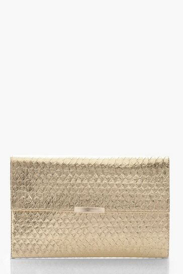 Womens Gold Metallic Faux Snake Envelope Clutch Bag