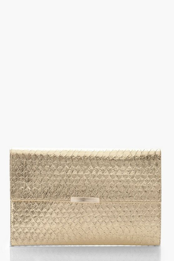 Womens Gold Metallic Faux Snake Envelope Clutch with Bar