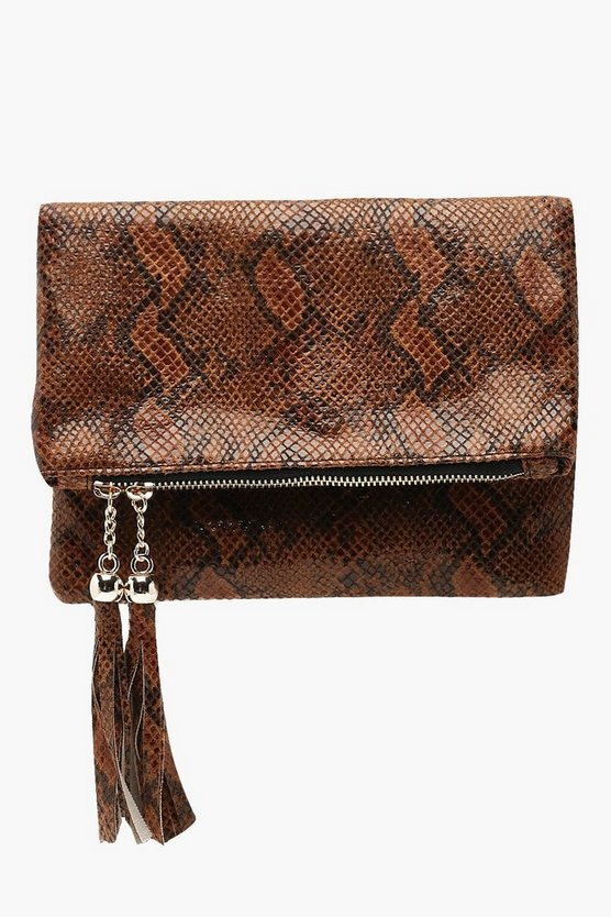 Faux Snake Double Tassel Foldover Clutch Bag