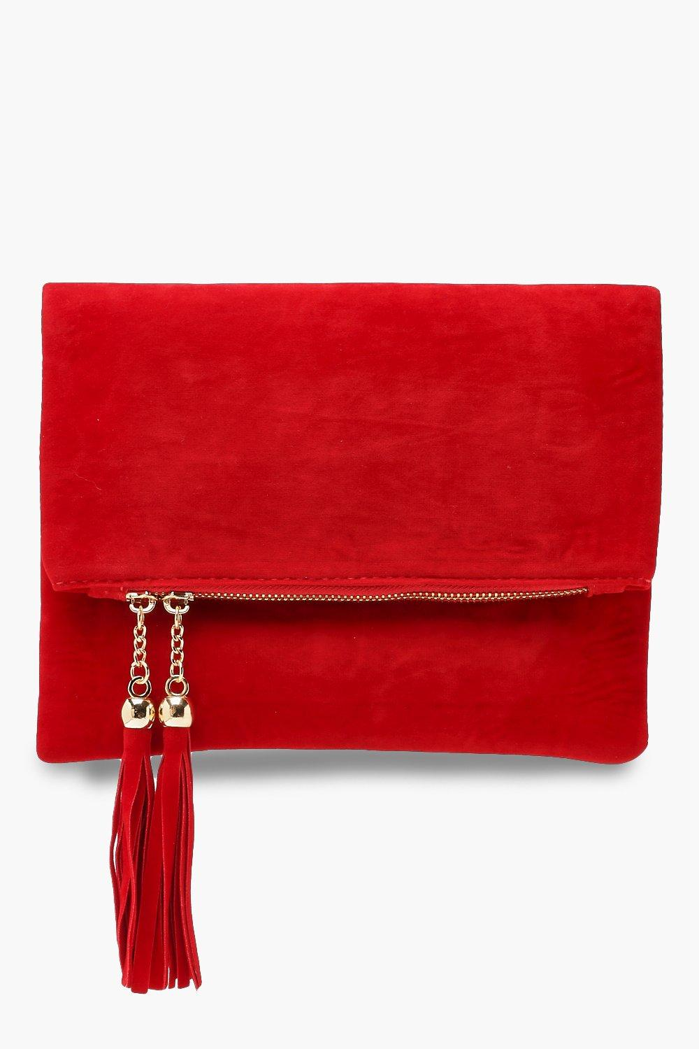 Double Tassel Foldover Clutch with Chain