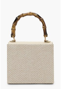 Womens Cream Woven Bamboo Handle Grab Bag