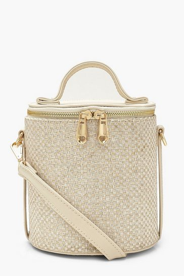 Womens Cream Woven Cylinder Handle Cross Body Bag
