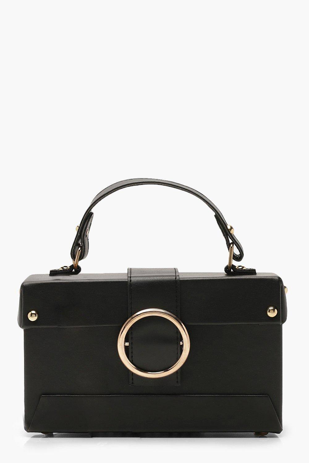 Ring Detail Structured Box Cross Body Bag