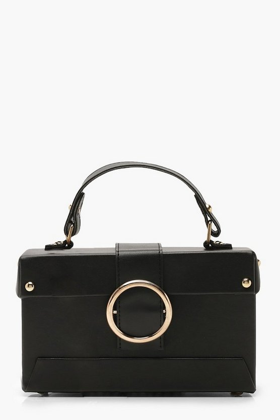 Womens Black Ring Detail Structured Box Cross Body Bag