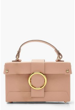 Tan Ring Detail Structured Box Cross Body Bag