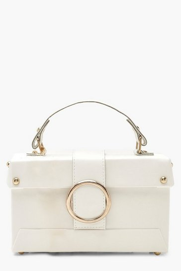 Womens White Ring Detail Structured Box Cross Body Bag
