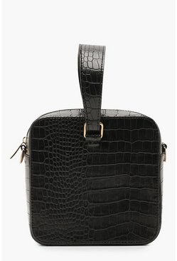 Womens Black Faux Croc Square Grab Bag