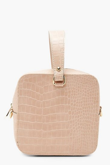 Womens Nude Faux Croc Square Grab Bag