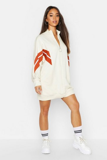 Womens Ecru Colour Block Batwing Sweat Dress
