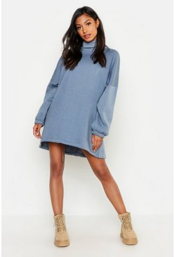 Womens Denim-blue Premium Roll Neck Oversized Toggle Sweat Dress