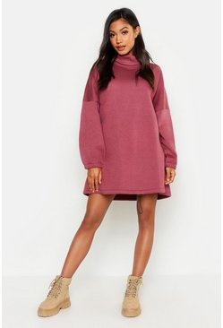 Womens Plum Premium Roll Neck Oversized Toggle Sweat Dress