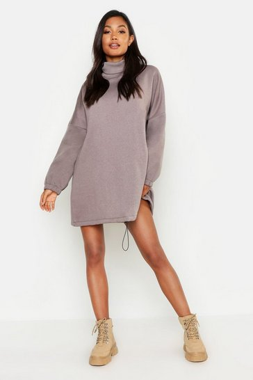 Womens Taupe Premium Roll Neck Oversized Toggle Sweat Dress