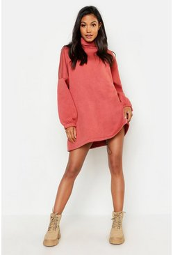 Womens Terracotta Premium Roll Neck Oversized Toggle Sweat Dress