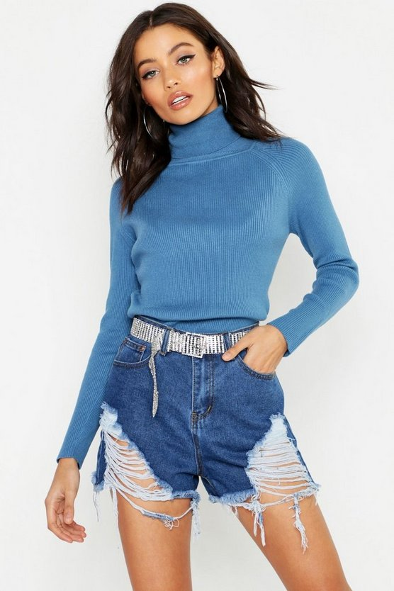 Ribbed Brushed Knitted Roll Neck Jumper