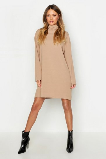 Womens Camel Roll Neck Ribbed Long Sleeve Mini Dress