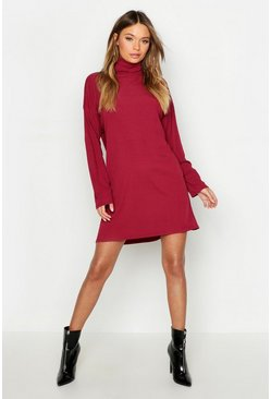 Womens Wine Roll Neck Ribbed Long Sleeve Mini Dress