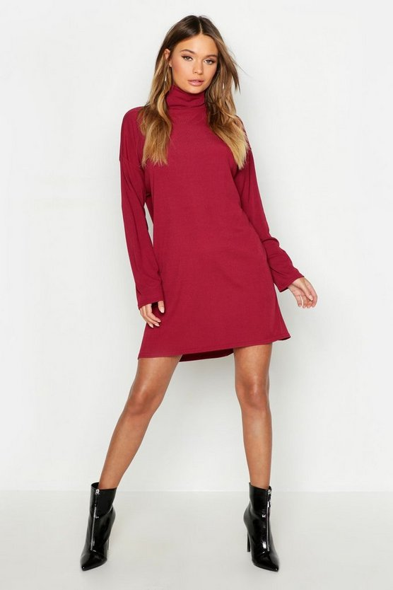 Roll Neck Ribbed Long Sleeve Mini Dress