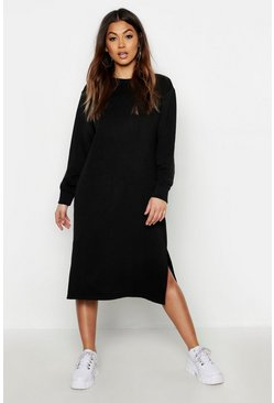 Womens Black Midi Split Side Sweat Dress
