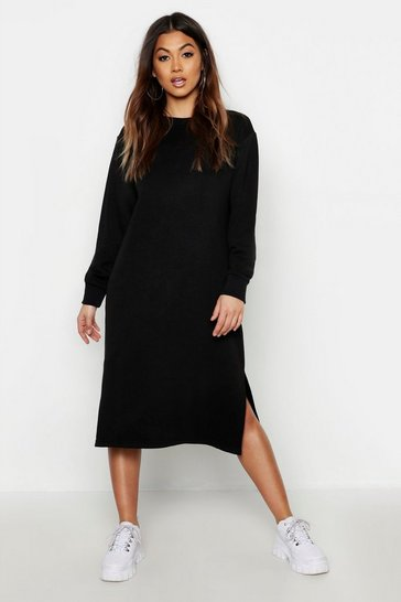 Womens Midi Split Side Sweat Dress