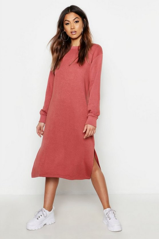 Womens Terracotta Midi Split Side Sweat Dress