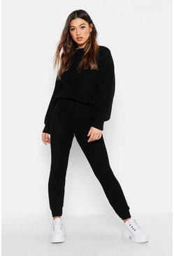 Womens Black Chunky Knitted Lounge Set