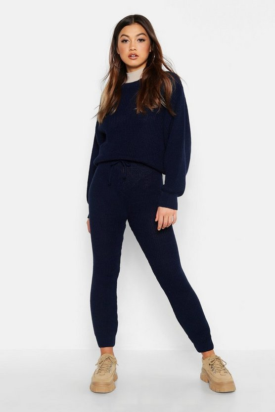 Womens Navy Chunky Knitted Lounge Set