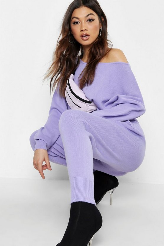 Womens Lilac Off The Shoulder Crop Knit Set