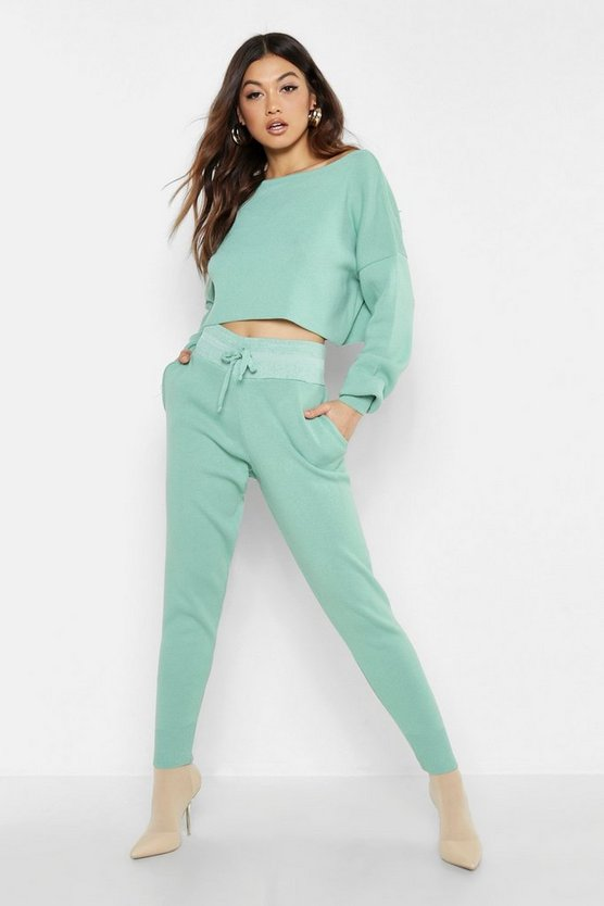 Womens Sage Off The Shoulder Crop Knit Set